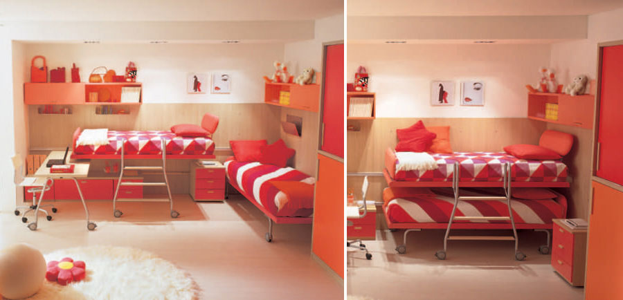 Beautiful Bunk Beds with Red and White bed Cover