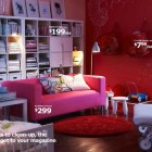 Beautiful IKEA Red Living Room with Nicely Pink Sofa