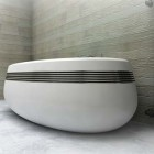 Beautiful White Bath with Stainless Stell Accents