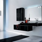 Beautiful White Bathroom with Black Furniture Sets