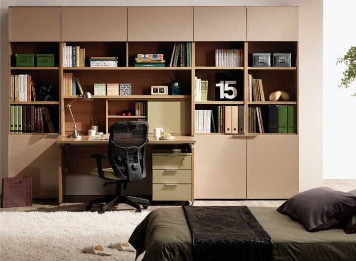 Beige Bookshelves Furniture with Study Desk
