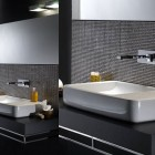 Beutiful White Bathroom Sink with Tile Wall Decor