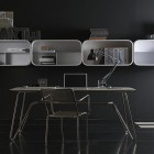 Black Room Decor for Work Desk with White Shelving System