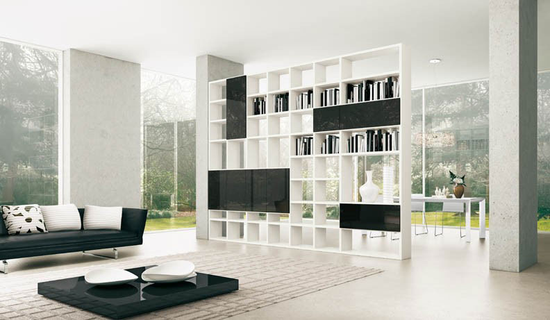 Black and White Open Shelving Unit To Separate Room