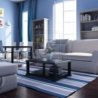 Blue White Beach House Living Room with Striped Rug