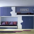 Blue, White and Violet Bunk Beds with Sofa Bed