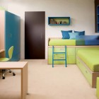 Blue and Green Kids Room with Sliding Study Desk