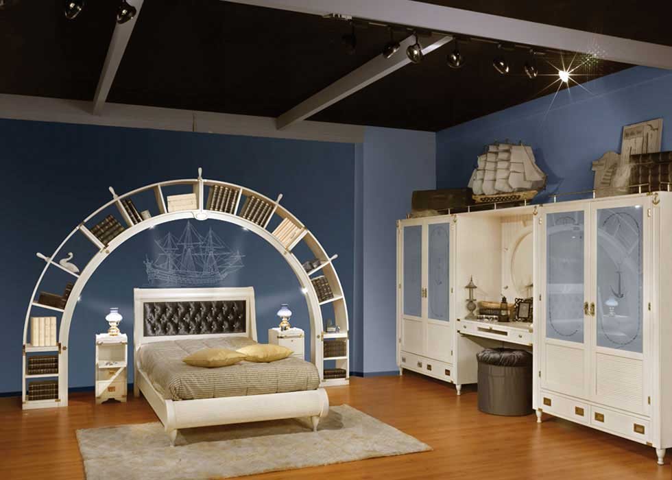 Blue and White Sea Theme Kids Bedroom Design
