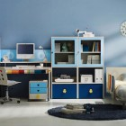 Blue and White Students Bedroom Furniture with Mickey Mouse Wall Mirror Ideas