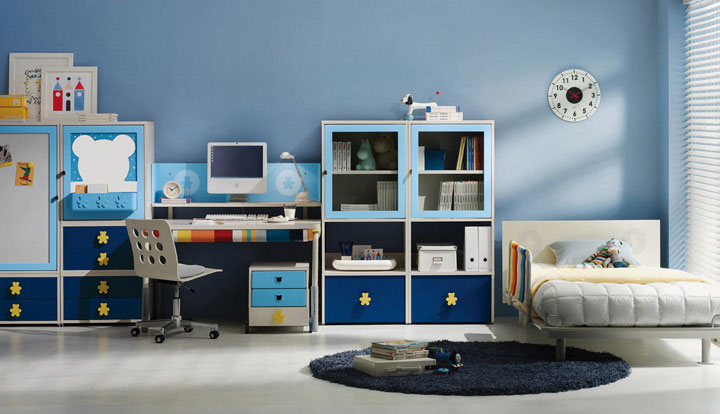Blue and white students bedroom furniture with mickey for Student bedroom designs