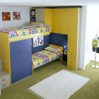 Blue and Yellow Bunk Beds for Brothers and Sister