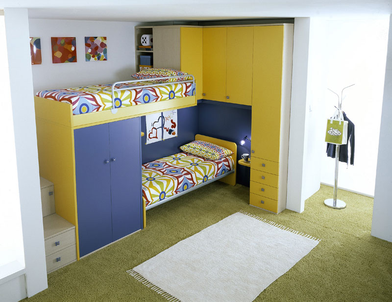 Blue And Yellow Bunk Beds For Brothers And Sister Interior Design