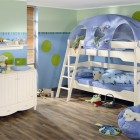 Blue and white Cool Kids Room with Play Bed Ideas