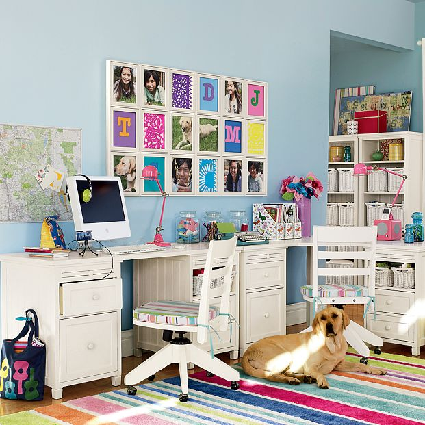 Bright Colorful Study Room with Wall Photo Decorations