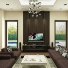Brown Living Room with Modern Ceiling Lamps