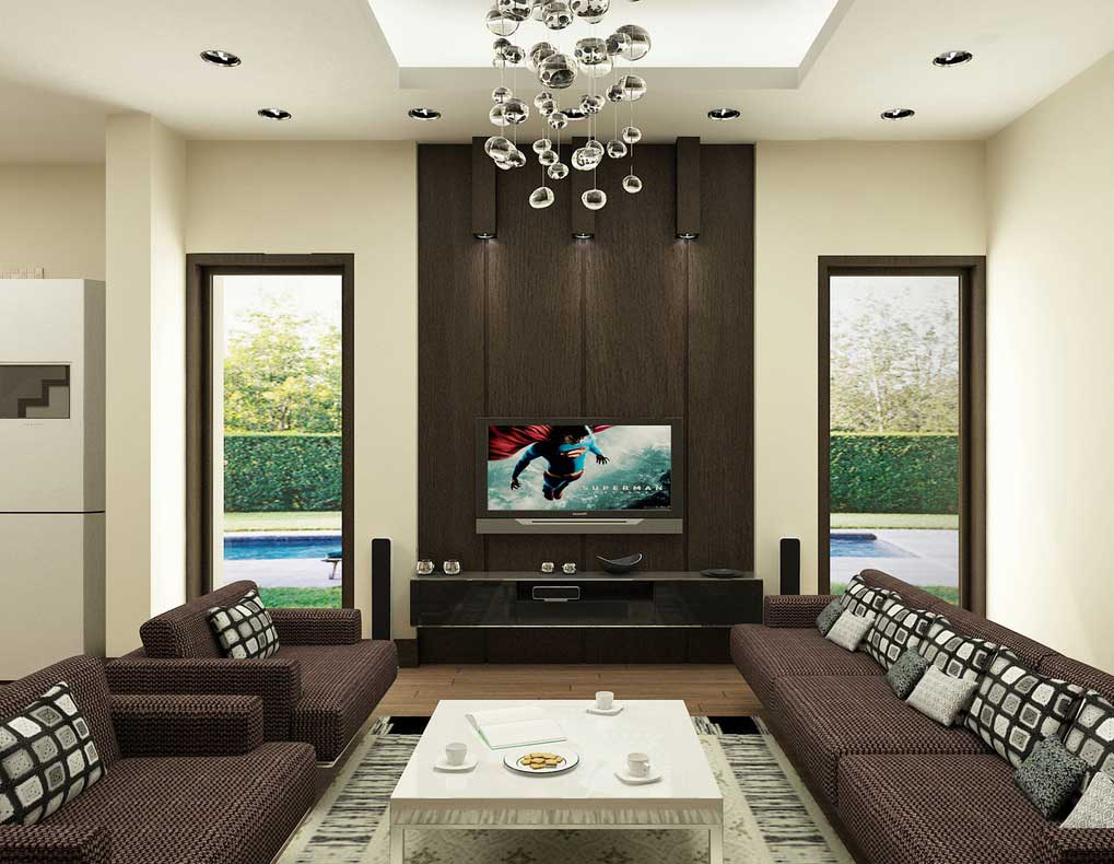 Brown living room with modern ceiling lamps interior for Modern living room brown