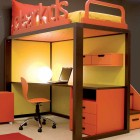 Brown, Yellow and Orange Kids Room with Study Desk Under Bed