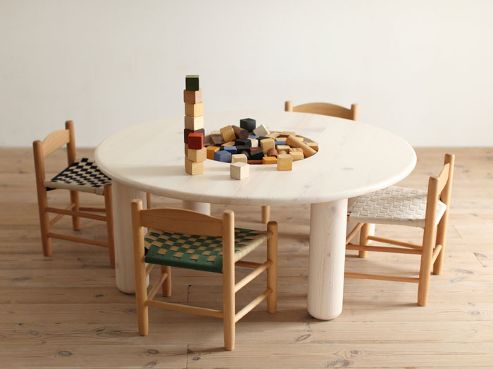 Circular Wooden Table for Kids with Wooden Puzzle