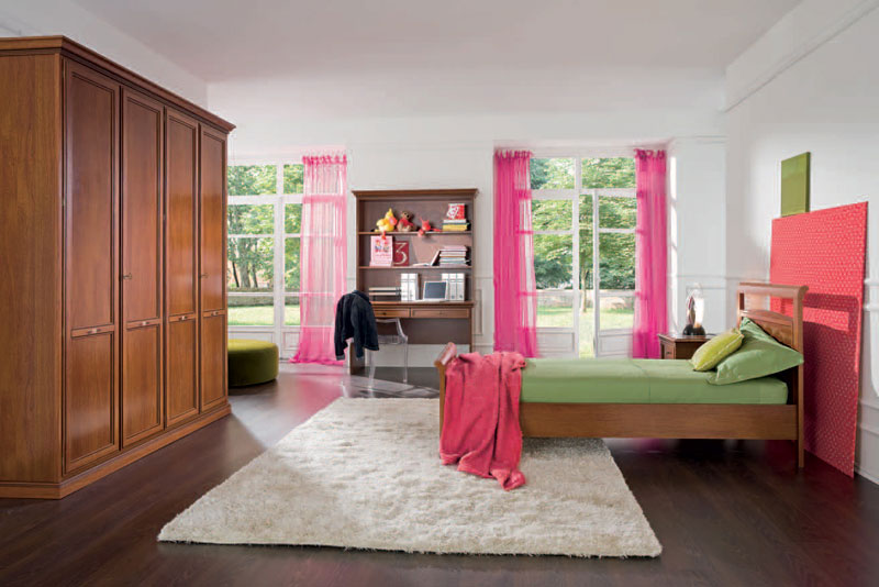 Classic Girls Room with Pink Curtain and Big Wood Wardrobe