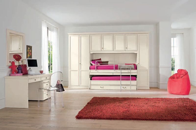 Classic White Girls Room with Nicely Pink Bed and Red Rug