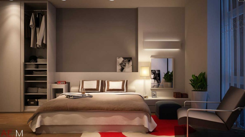 modern minimalist white and balck master bedroom design 1