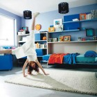 Cool Blue Kids Room with Beige Rug Color