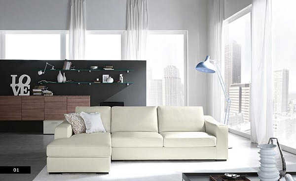 Cool Living Room White Sofa With Modern Lamps Interior Design Ideas