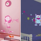 Cool Wall Sticker in Pink and Blue Kids Room Design