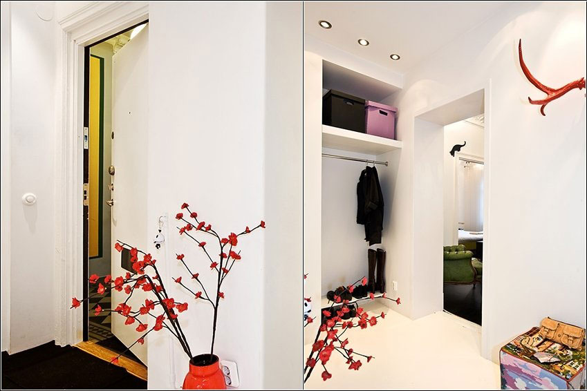 Corner Room with Red Branches Decorations Ideas