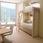 Cream Color Kids Room with Bunk Beds and Double Study Desk