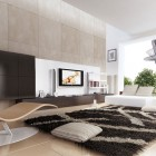 Cream Colored Living Room with Shag Rug and Funky Furniture