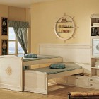 Cream Kids Room Color with Twin Bed Design