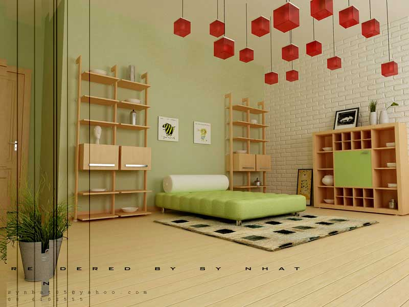Creative Youth Room with Red Box Chandelier