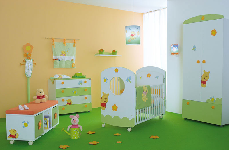 Cute Baby Nursery Room With Winnie the Pooh Furniture Decor