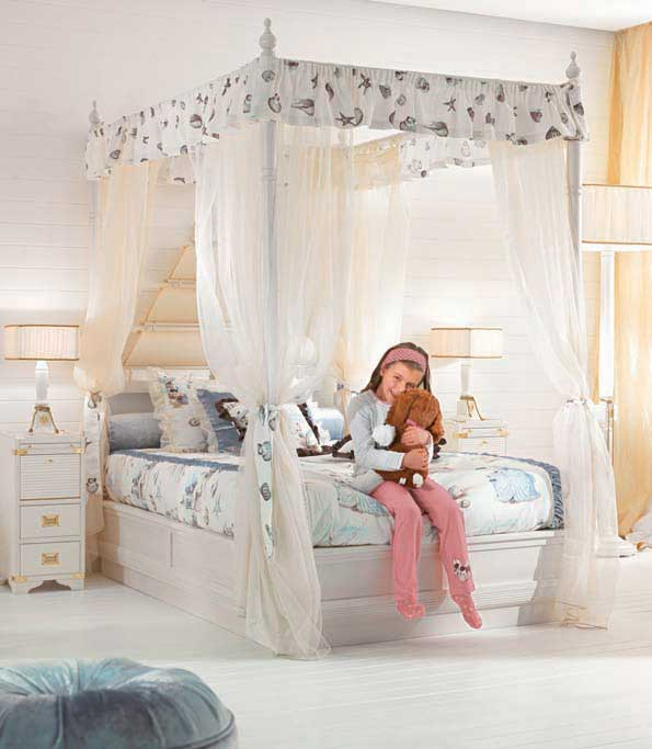 Cute Girl Bedroom With White Canopy Bed Interior Design