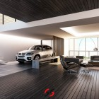 Dark Brown Wood Paneled Living Room with BMW Car