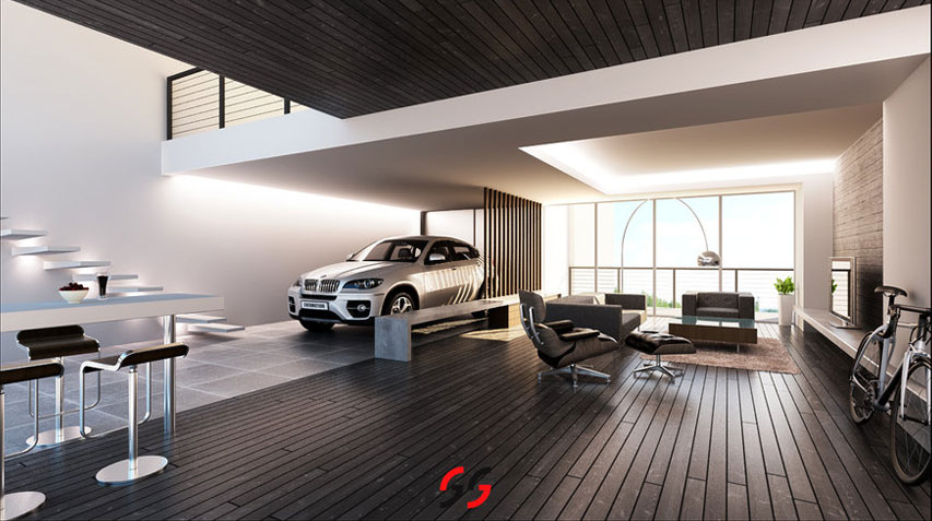 Dark Brown Wood Paneled Living Room with BMW Car