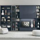 Dark Grey LCD TV Table Shelf Cabinet