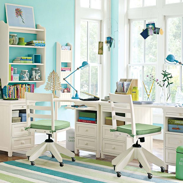 Eco friendly study room with blue study lamp interior design ideas - Study room furniture designe ...