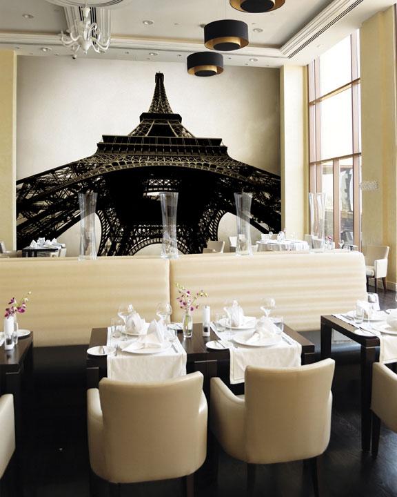 Eiffel tower wallpaper decoration in restaurant interior - Decorating wallpapers for interior ...