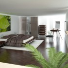 Elegant Bedroom with Brown Cover and White Rugs