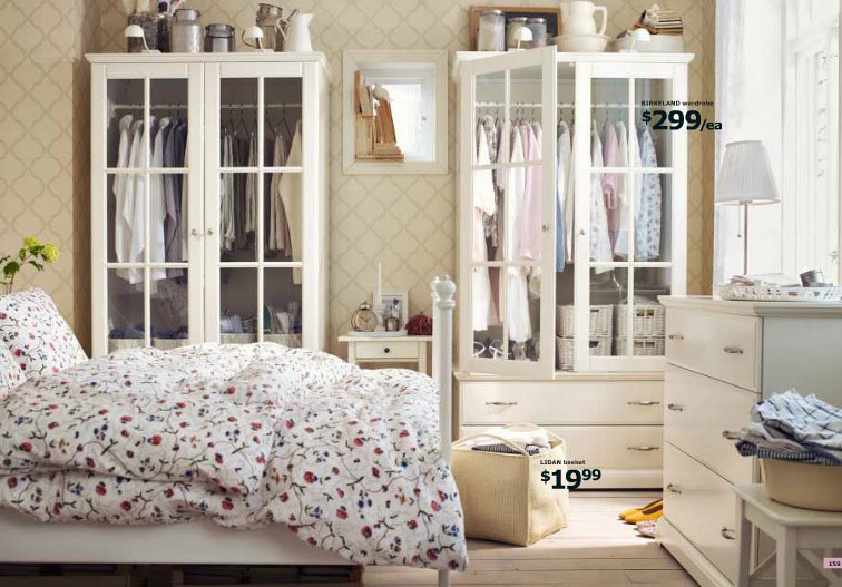 Elegant IKEA Country Bedroom with Flower Bedcover Design