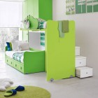 Ergonomic Sliding Green Bunk Beds in Kids Room Design