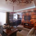 Exotic Living Room with Wood Paneling Wall Gold Color