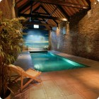 Exotic Swiming Pools Inside The House with Beach Wallpaper
