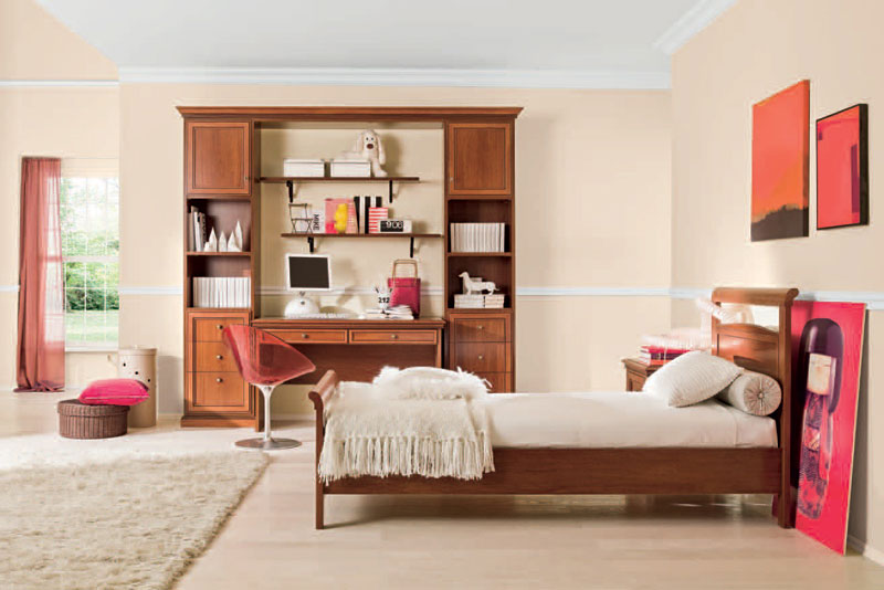 Feminine classic girl bedroom with wood study desk interior design ideas - Girls modern desk area in bedroom ...