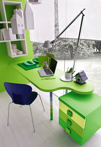 Fresh Green Study Desk with Blue Chairs by Stemik Living