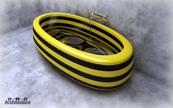Funy Bathtub Theme with Bee Color