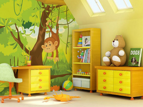 Funy Monkey Wallpaper Decoration for Kids Play Room