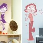 Girl Cartoon Vinyl Decal Wall Sticker in Girl Bedroom